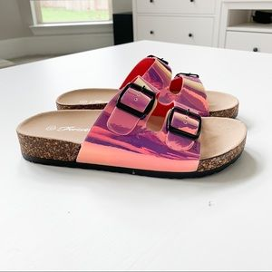 Forever Pink Holographic Sandals Sz 6